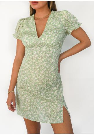 Green floral dress with slit side
