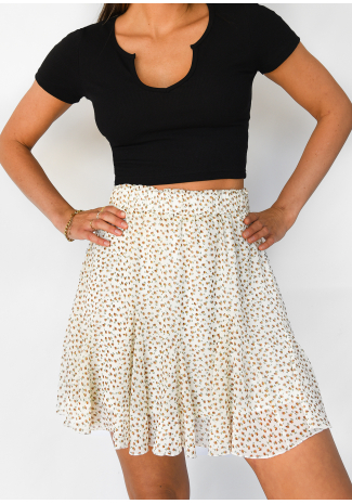 Ruffle floral skirt in beige