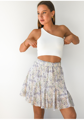 Ruffle floral skirt in lilac