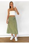 Satin midi skirt in green