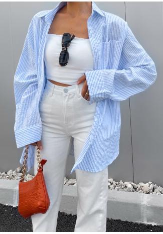 Camisa extragrande a rayas azules
