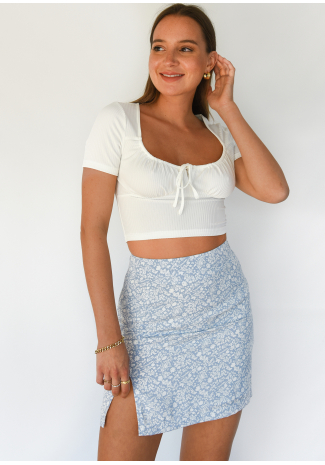 Blue front split floral mini skirt