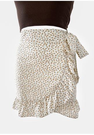 Falda con volante blanca con estampado floral