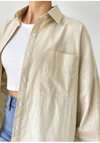 Oversized shirt in beige