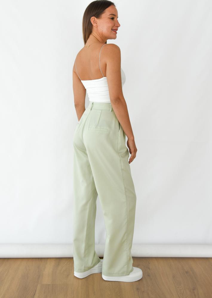 Wide leg pants in pastel green