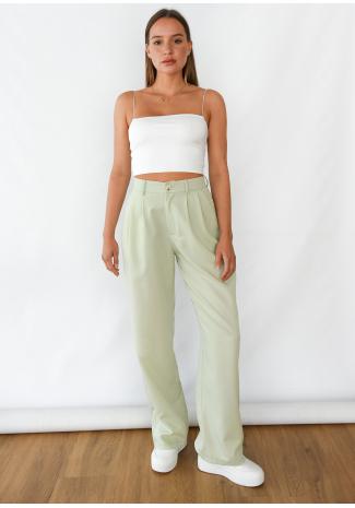 Pantalon large vert pastel