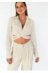 Linen wrap around crop shirt in beige