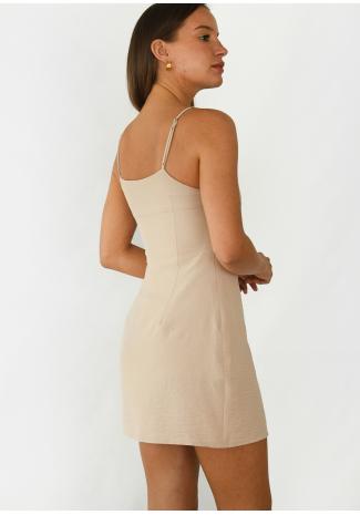 Square neck mini dress with split