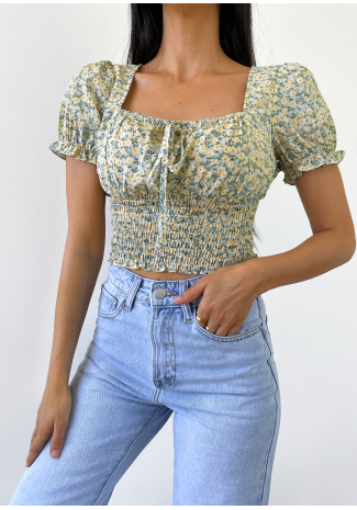 Floral square neck top in green