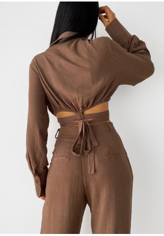 Chemise courte en lin avec liens à nouer