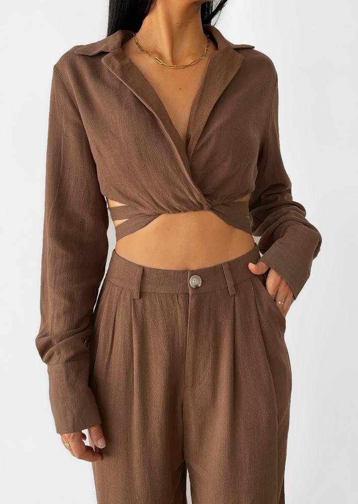 Linen wrap around crop shirt in brown