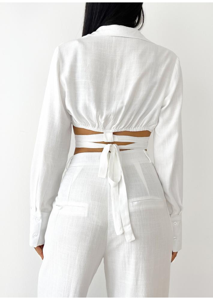 Linen wrap around crop shirt in white