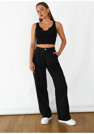 Wide leg pants in black
