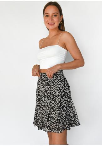 Ruffle skirt in leopard print