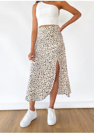 Midi skirt with side split in beige