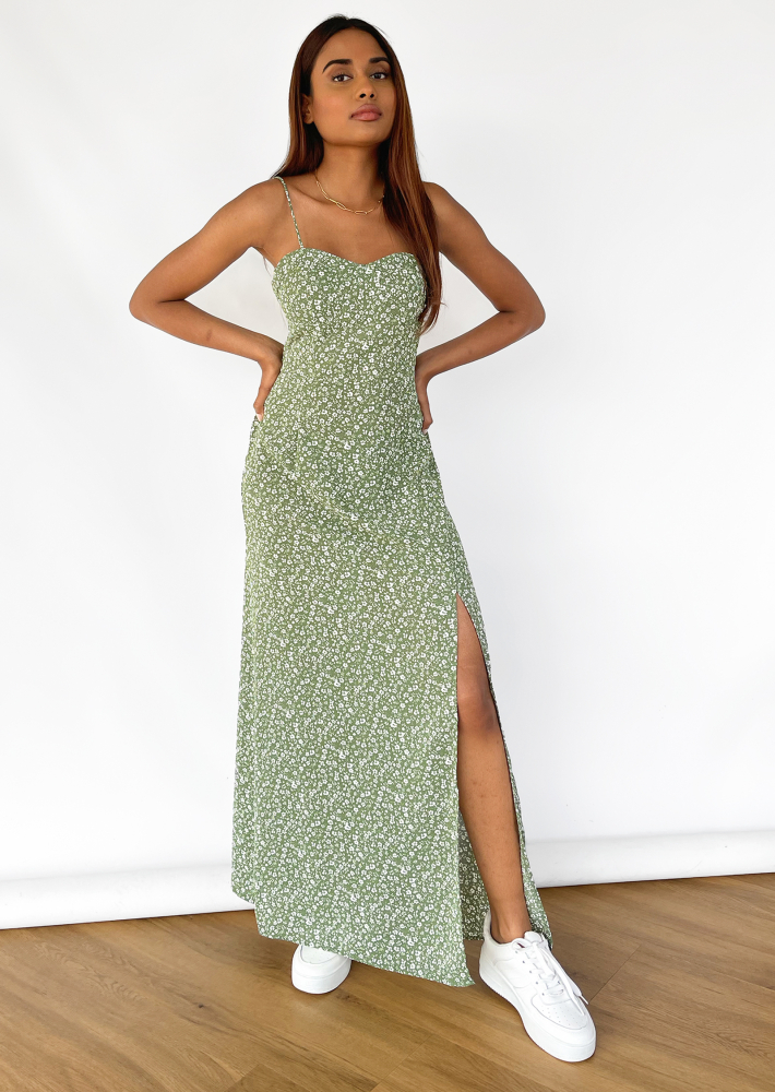 Floral maxi dress with thigh split in green