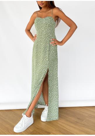 Vestido largo con estampado floral y abertura en verde