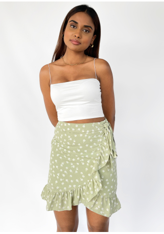 Ruffle floral skirt in black