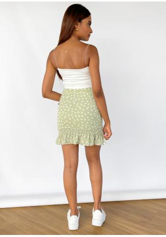Falda con volante verde con estampado floral