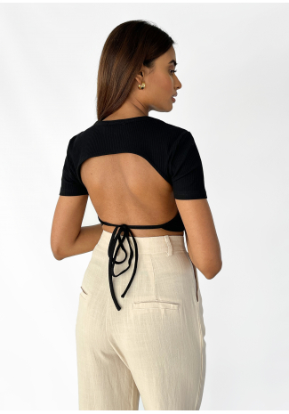 Ribbed open back top in black