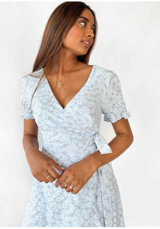 Wrap Floral Dress in blue