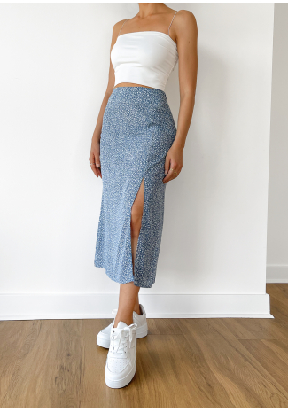 Floral midi skirt with side split in blue