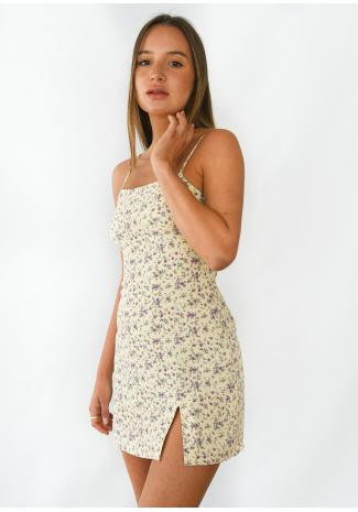 Square neck floral mini dress with split