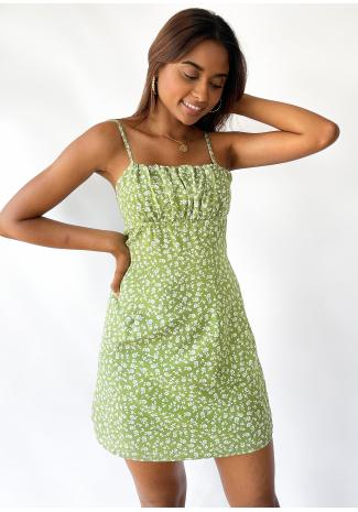 Strappy mini dress in green floral