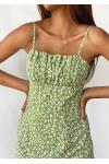 Robe courte fleurie verte