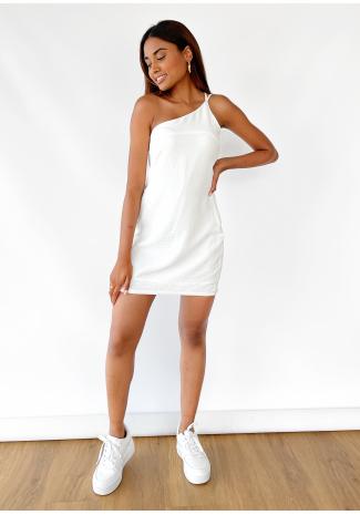 One shoulder mini dress in white