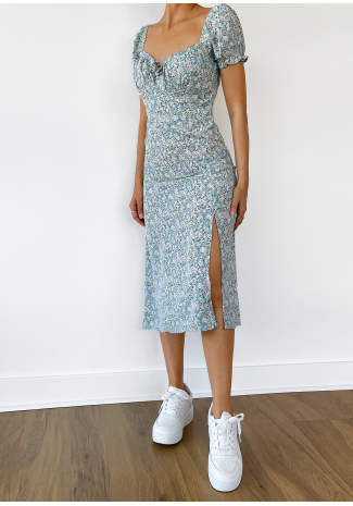 Floral midi dress with thigh split in floral blue
