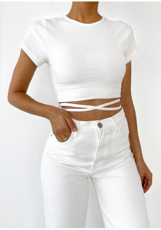 Rib tie back top in white