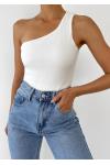 One shoulder rib bodysuit in white
