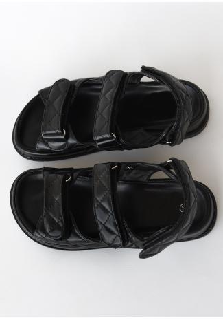 Sandales chunky matelassées style grand-père noir
