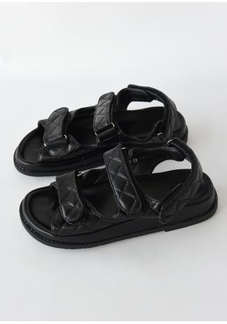 Sandalias planas negras acolchadas con suela gruesa