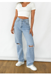 Wide leg ripped jeans