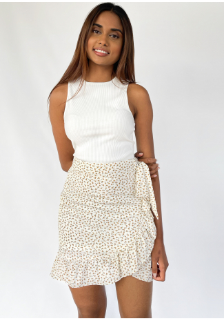 Ruffle floral skirt in white