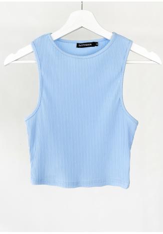 Camiseta azul de tirantes de canalé
