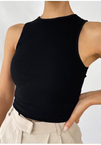 Black ribbed vest