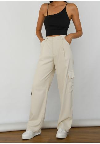 Pantalones cargo beis de pernera ancha