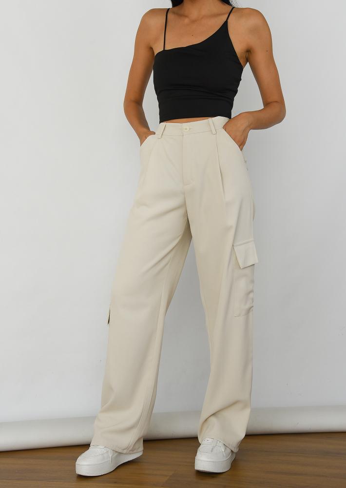 Pantalon cargo large beige
