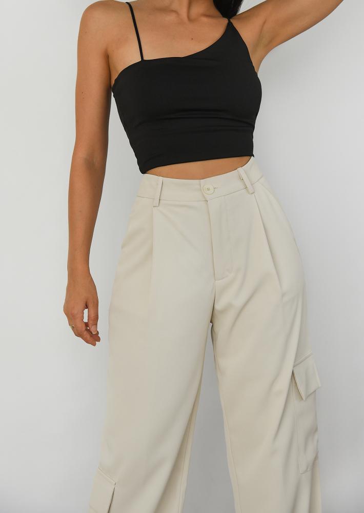 Wide leg cargo pants in beige