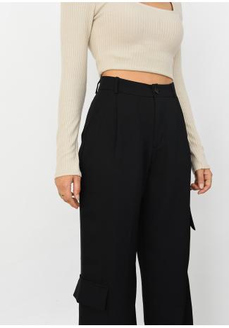 Pantalones cargo negro de pernera ancha