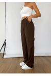 Pantalon cargo large marron