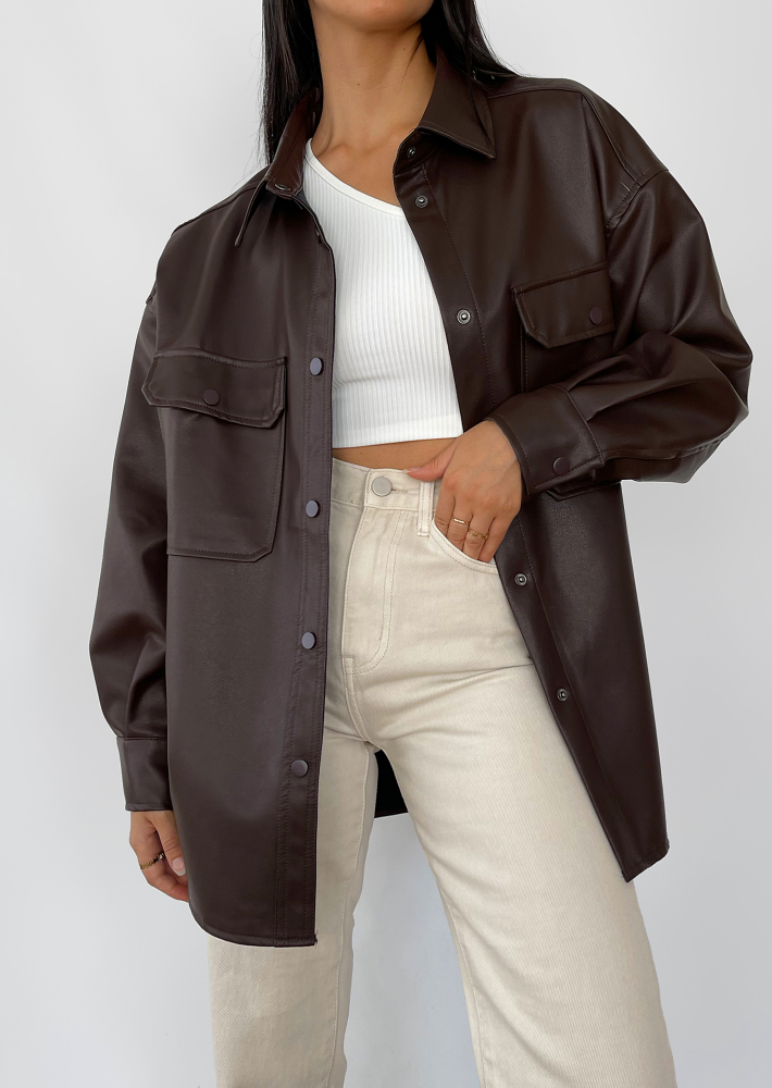 Oversized faux leather jacket in brown