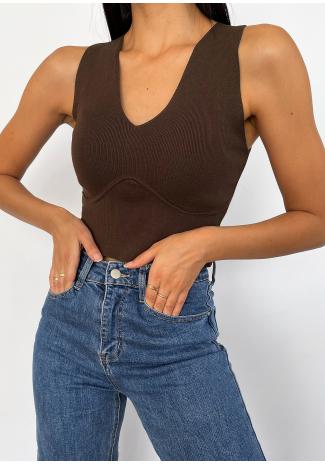 Top style corset marron