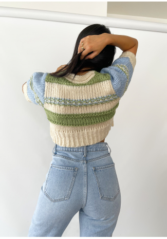 Chunky knitted colourblock crop cardigan