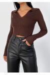 Rib collar top in brown
