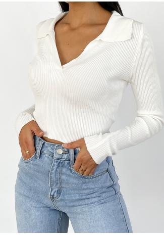 Rib collar top in white