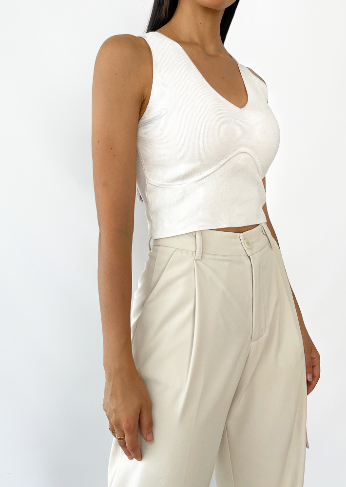 Corset detail top in white